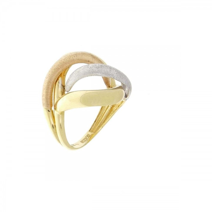 Ring for women, red, white, 14k yellow gold