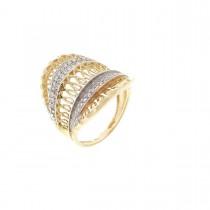 Кольцо для женщины, красное золото 14 карат, цирконий