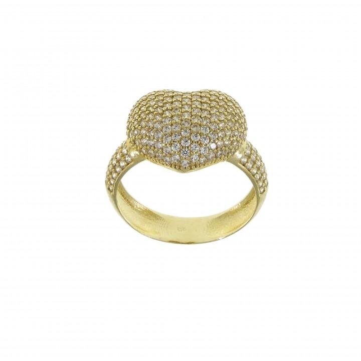 Кольцо для женщины - сердце, желтое золото 14 карат с цирконием