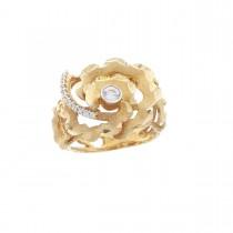 Кольцо для женщины, красное золото 14 к с цирконием