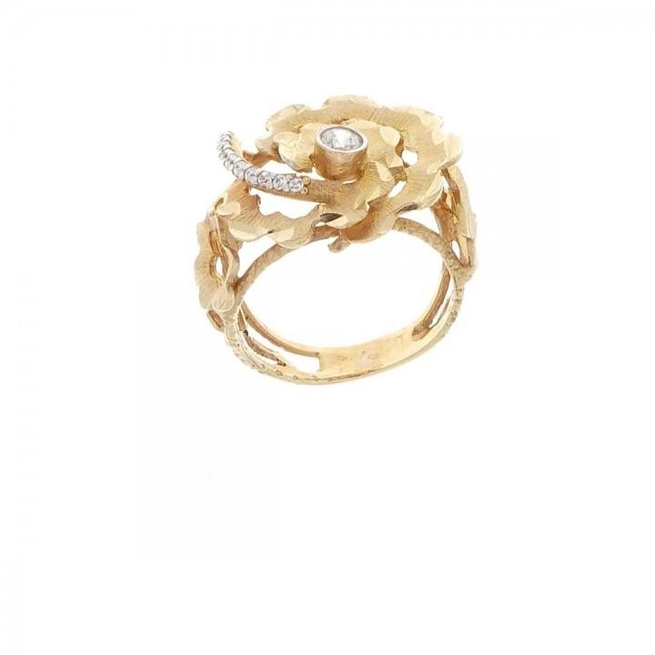 Кольцо для женщины, красное золото 14 к с цирконием, размер 12/52