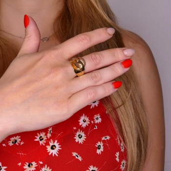 Ring for a woman, 14K yellow and red gold