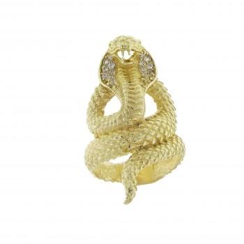 Кольцо для женщины - змея, желтое золото 14 карат с цирконием