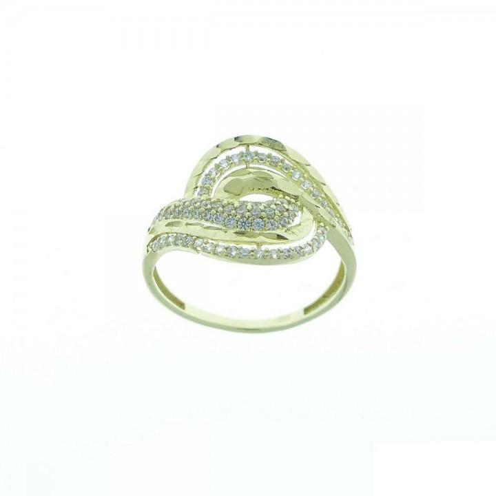 Кольцо для женщины, желтое золото 14 карат, фианиты