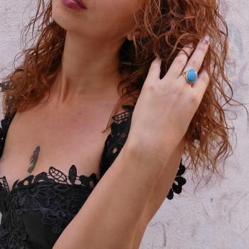 Кольцо для женщины с бирюзой, желтое золото 14 карат