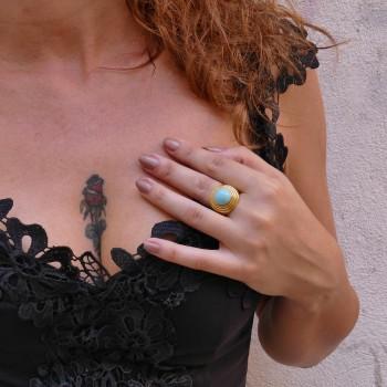 Кольцо для женщины, бирюза, желтое золото 14 карат