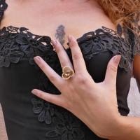 Кольцо для женщины, хрусталь, жёлтое золото 14 карат