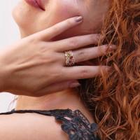Кольцо для женщины, мультиколор, желтое золото 14 карат