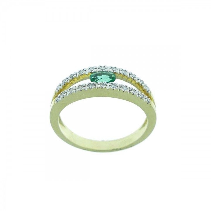 Ring for women, yellow gold with diamonds and emerald