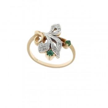 Кольцо для женщины, желтое золото 14 карат с бриллиантами и изумрудами