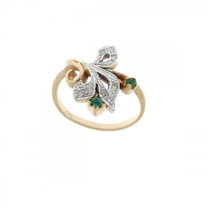 טבעת לנשים, זהב צהוב 14 קראט עם יהלומים ואמרלד