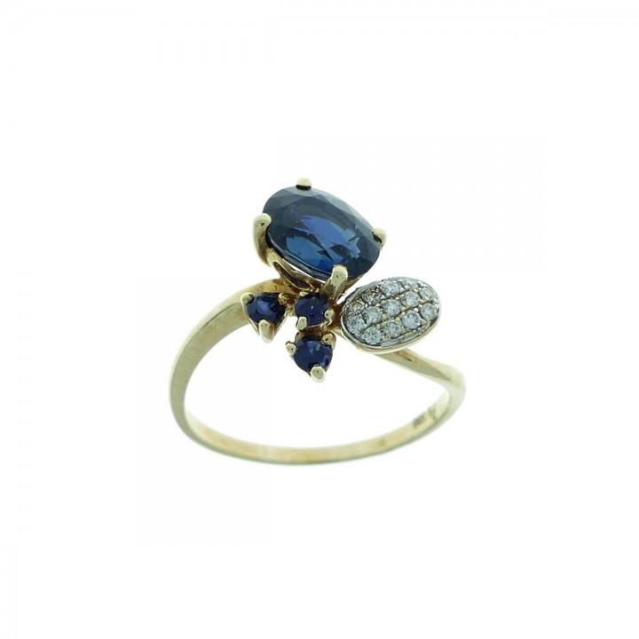 טבעת לנשים, זהב צהוב עם יהלומים וספיר