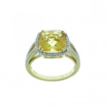 Кольцо для женщины, желтое золото с бриллиантами и цитрином