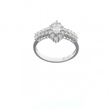 Ring for a woman with white diamonds, white gold 585
