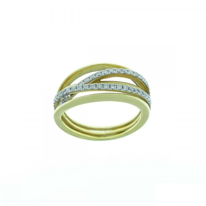 Ring for women, yellow gold with diamonds