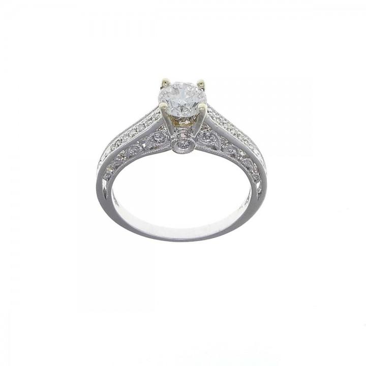 טבעת לנשים, זהב לבן 14 קראט עם יהלומים