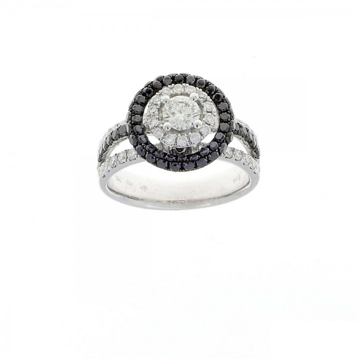 Ring for women, 14 ct white gold with diamonds