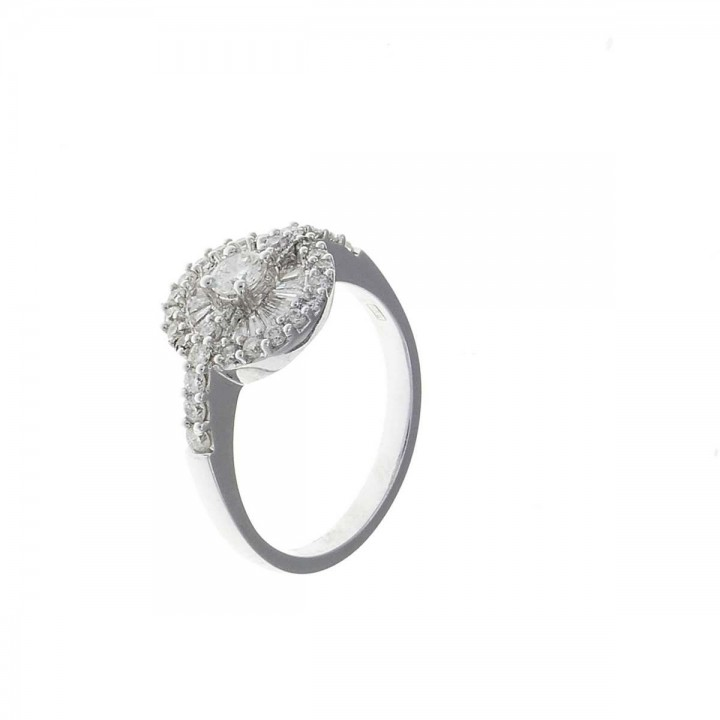 Ring for a woman with white diamonds, white gold 18 ct