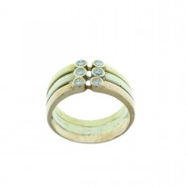 Кольцо для женщины, желтое, красное и белое золото с бриллиантами