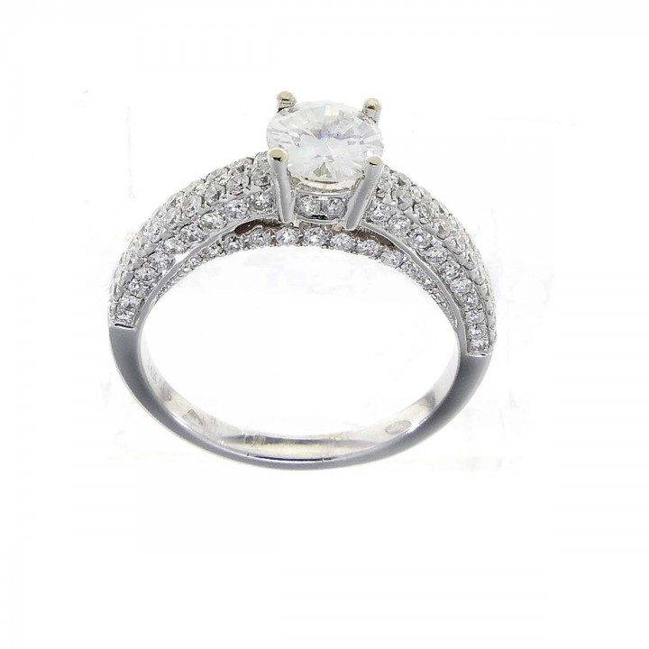 Woman engagement ring with diamonds