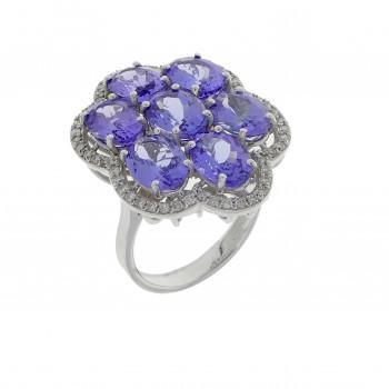 Кольцо для женщины белое золото 18 карат с бриллиантами и танзанитом