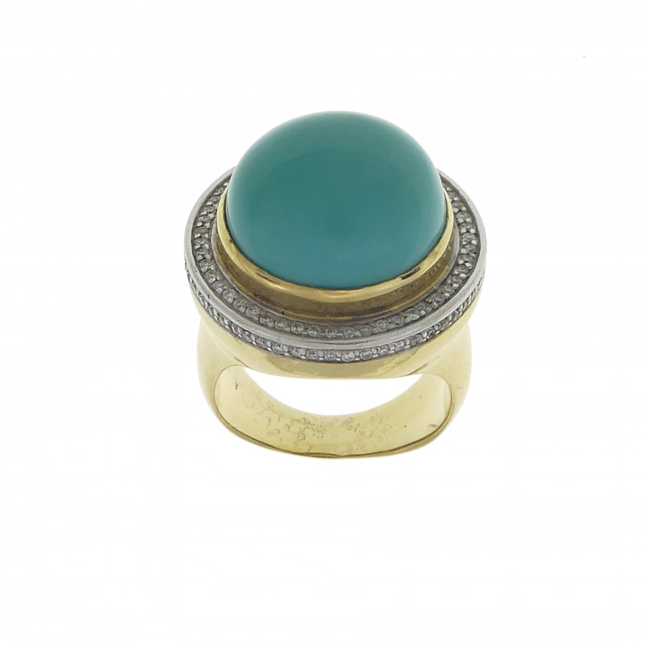 Золотое кольцо с бриллиантами и бирюзой