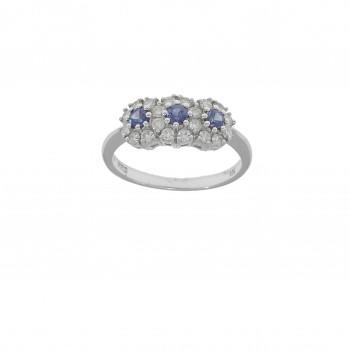 Кольцо для женщины белое золото 18 карат с бриллиантами и сапфиром