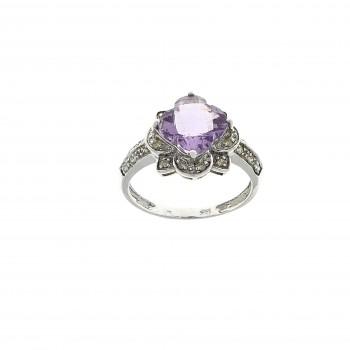 Кольцо для женщины, белое золото 14 карат с бриллиантами и аметистом