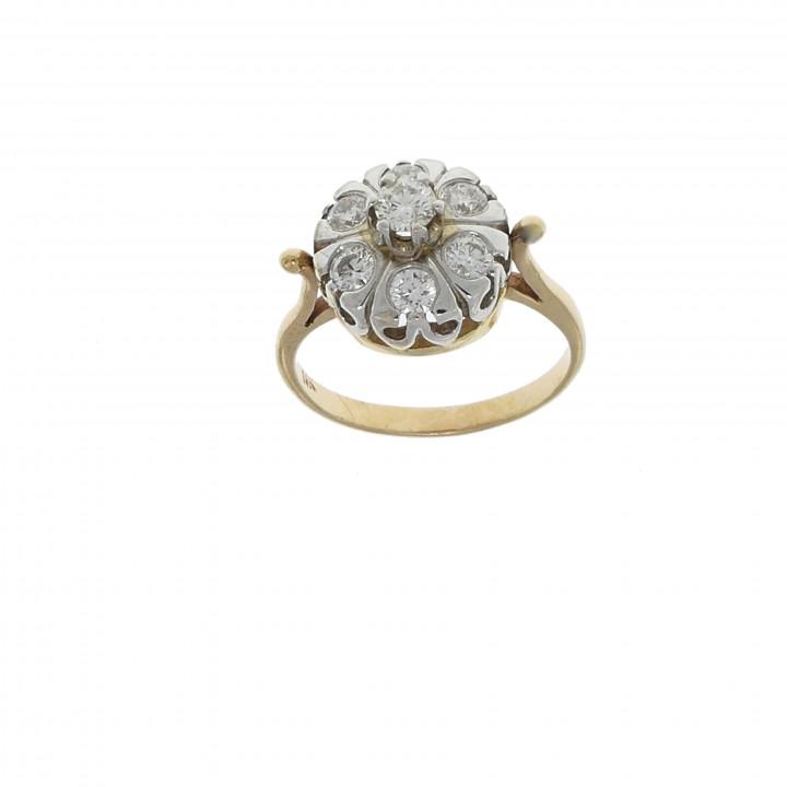 Золотое кольцо с бриллиантами 1.05 карата