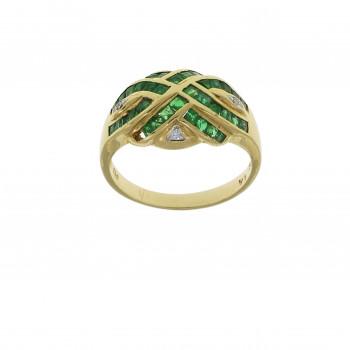 Кольцо для женщины жёлтое золото 14 карат с бриллиантами