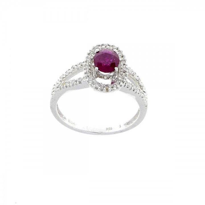 Ring for women, 18 ct white gold with diamonds and ruby