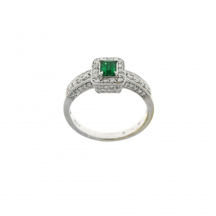 Ring for women, 14 ct white gold with diamonds and emerald