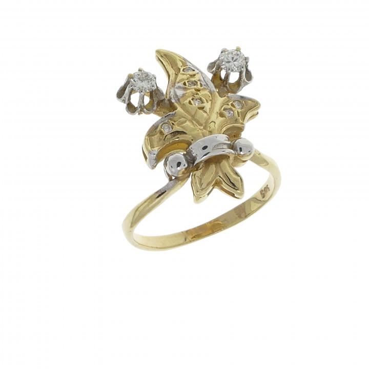Золотое кольцо с бриллиантами 0.30 карат