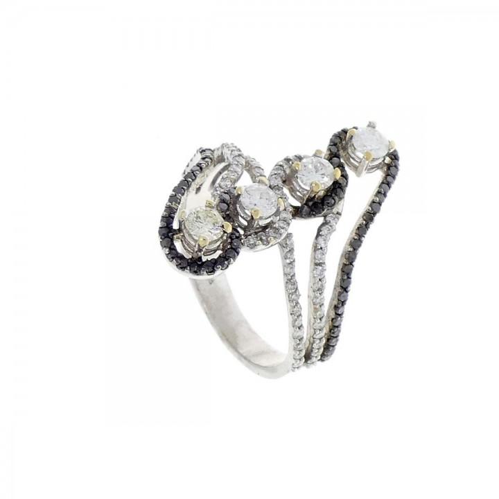 Кольцо для женщины, белое золото 18 карат с бриллиантами
