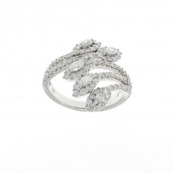 Кольцо для женщины с белыми бриллиантами, белое золото 585