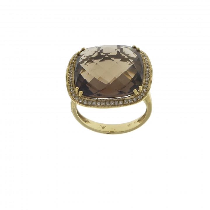 Кольцо с бриллиантами и турмалином