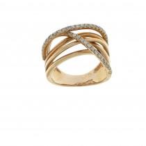טבעת לאישה, זהב אדום 14 קראט עם יהלומים
