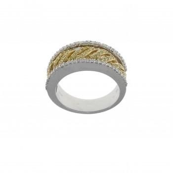 Кольцо для женщины желтое и белое золото 14 карат с бриллиантом