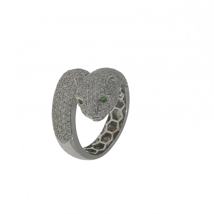 Кольцо с бриллиантами - голова пантеры