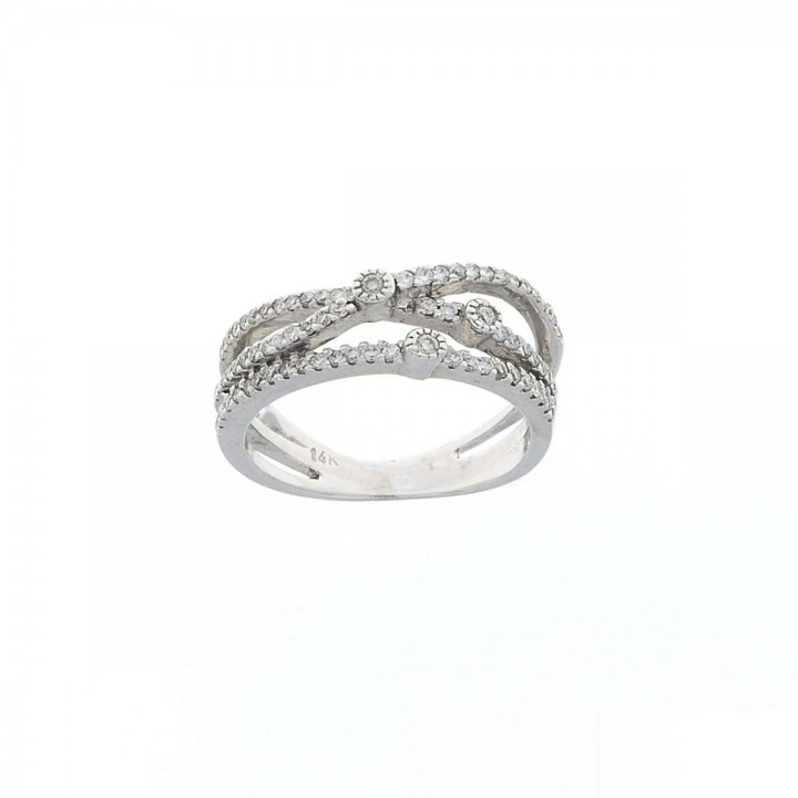Ring for women, 14 ct white gold, white diamonds