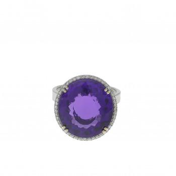 Кольцо для женщины, белое золото 18 карат с бриллиантами и аметистом