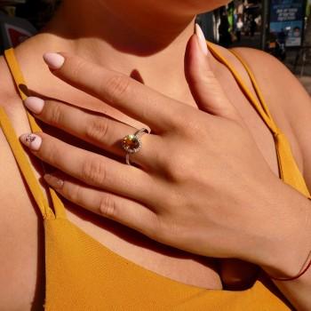Кольцо для женщины, белое золото 14 карат с бриллиантами и цитрином