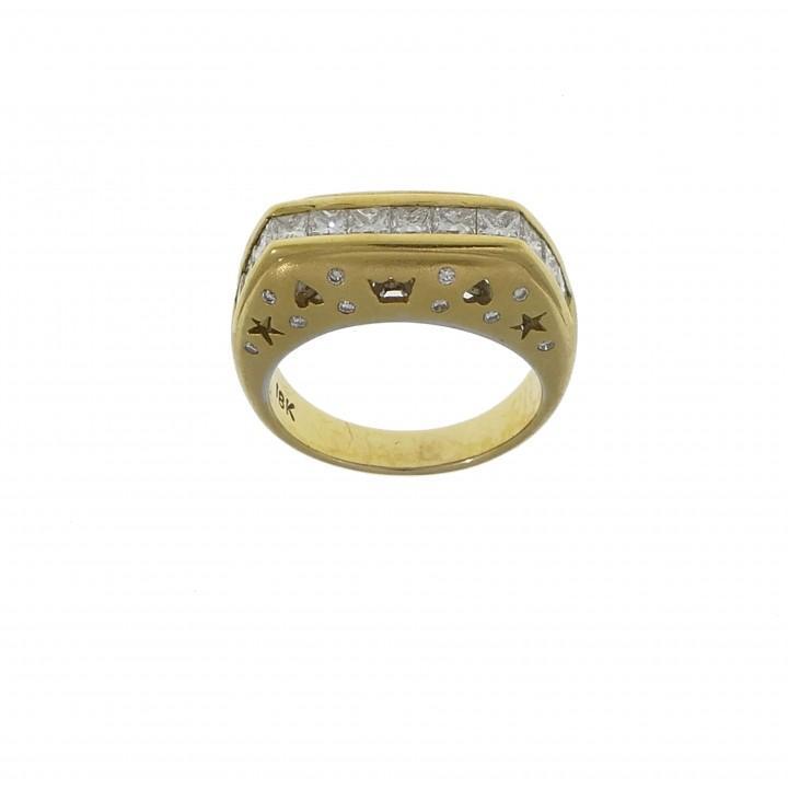 Золотое кольцо с бриллиантами 1.27 карата