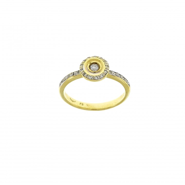 Ring for a woman, 14K yellow gold with diamonds