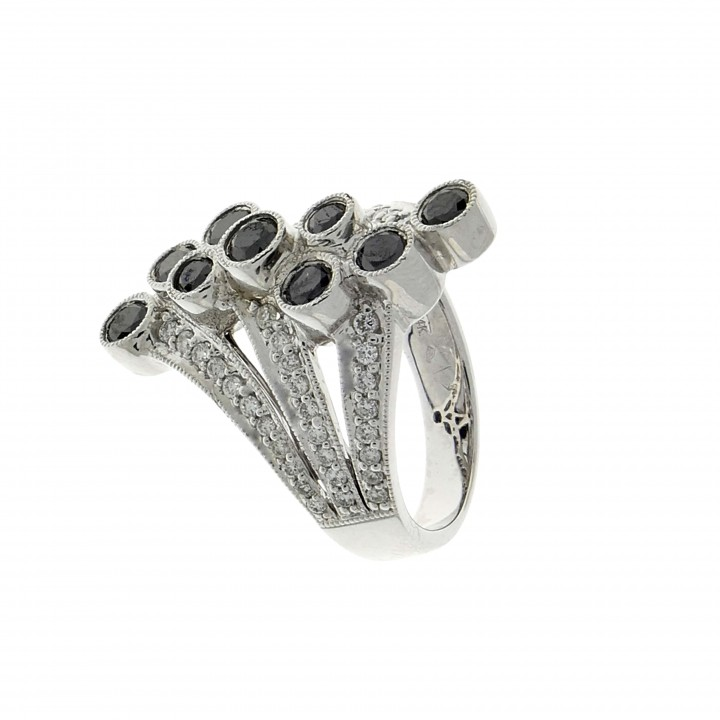 Ring for women, 14 ct white gold with white diamonds