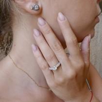 טבעת לנשים, זהב לבן 14 קראט, יהלומים לבנים