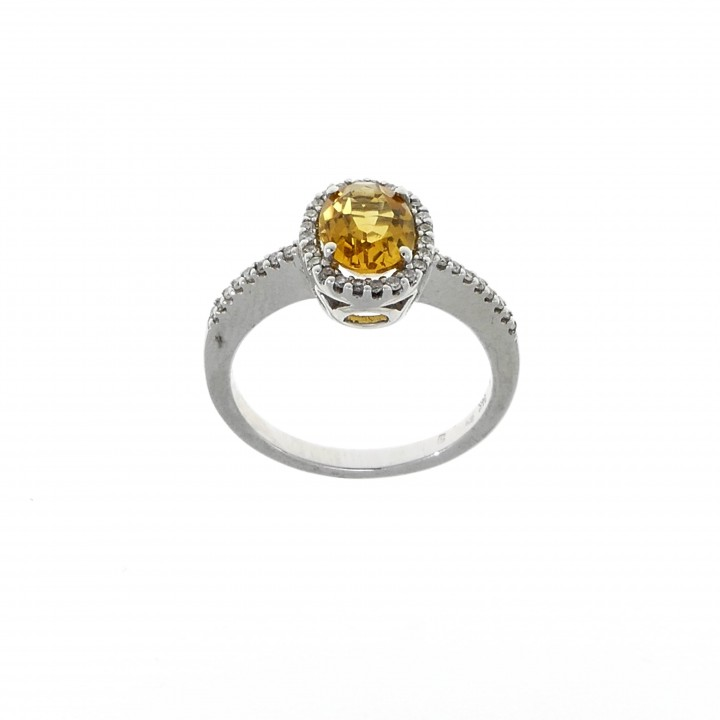 Ring for woman, 14K white gold, diamonds and citrine