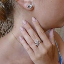 טבעת לנשים, זהב לבן 18 קראט, יהלומים לבנים