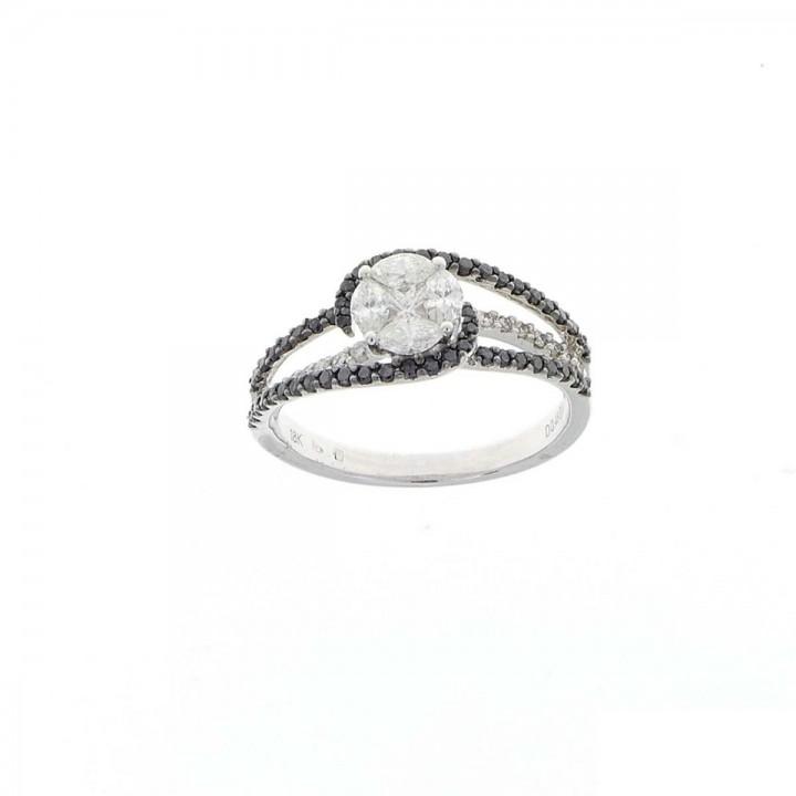 Кольцо для женщины, белое золото 18 карат, белые и чёрные бриллианты