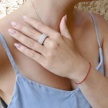 Кольцо женское, белое золото 14 карат, белые бриллианты